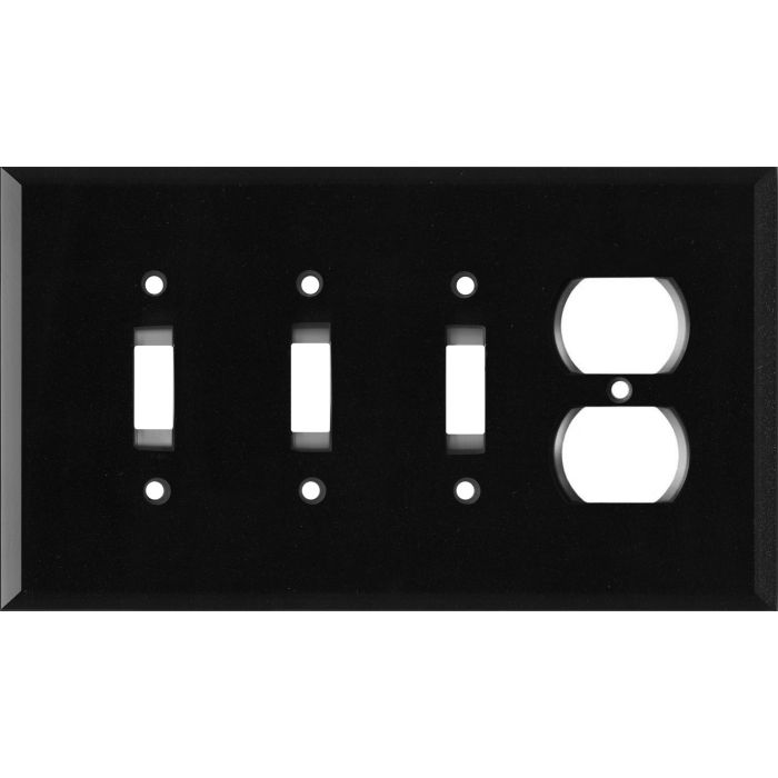 Glass Mirror Black with Blue Sparkle Combination Triple 3 Toggle / Outlet Wall Plate Covers