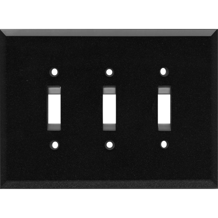 Glass Mirror Black with Blue Sparkle - 3 Toggle Light Switch Covers