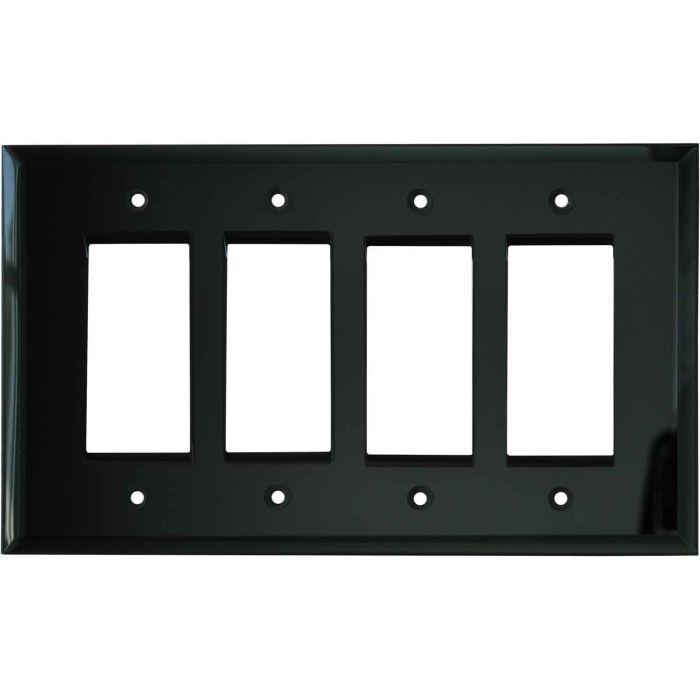 Glass Mirror Black 4 Rocker GFCI Decorator Switch Plates