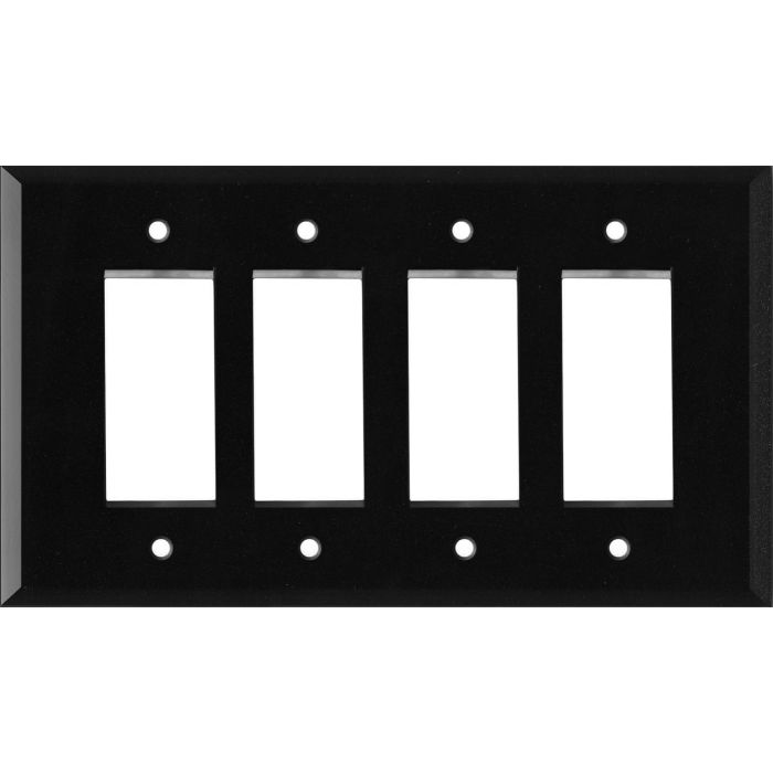 Glass Mirror Black with Blue Sparkle 4 Rocker GFCI Decorator Switch Plates