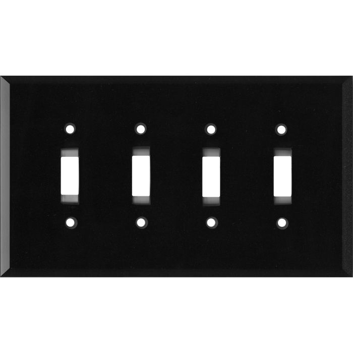 Glass Mirror Black with Blue Sparkle - 4 Toggle Light Switch Covers