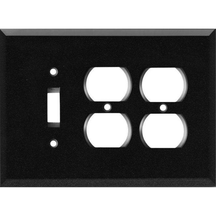 Glass Mirror Black with Blue Sparkle - 1 Toggle/2 Duplex Outlet Wall Plates