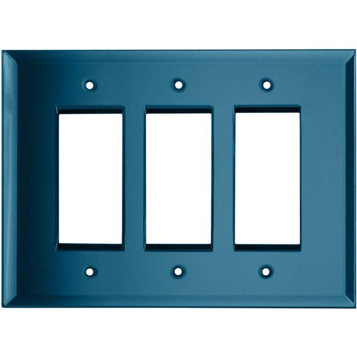 Glass Mirror Blue Tint - 3 Rocker GFCI Decora Switch Covers