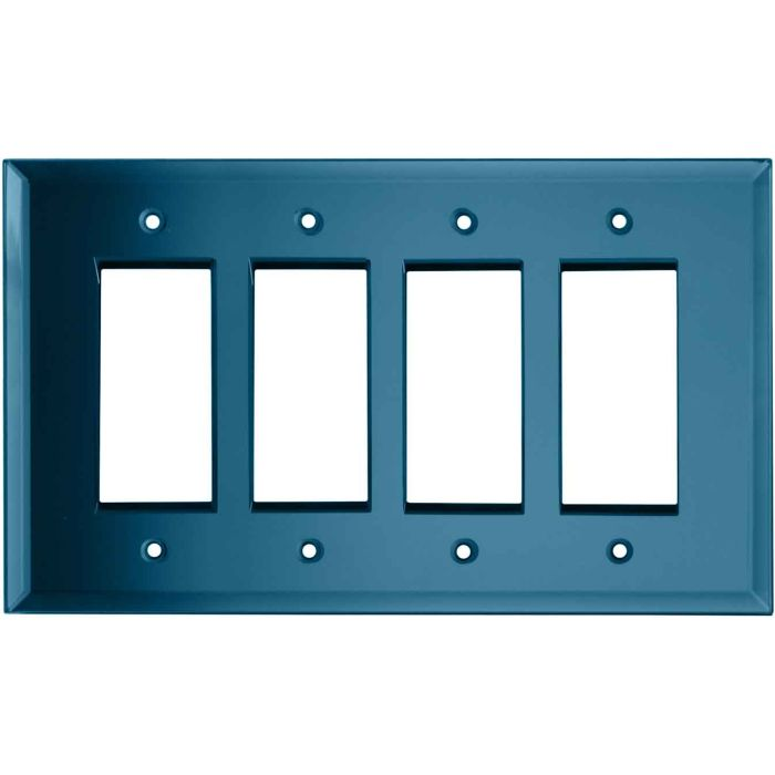 Glass Mirror Blue Tint - 4 Rocker GFCI Decora Switch Plates