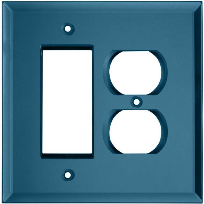 Glass Mirror Blue Tint Combination GFCI Rocker / Duplex Outlet Wall Plates