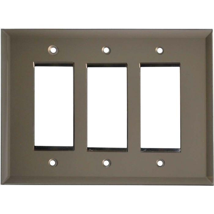 Glass Mirror Bronze Tint Triple 3 Rocker GFCI Decora Light Switch Covers