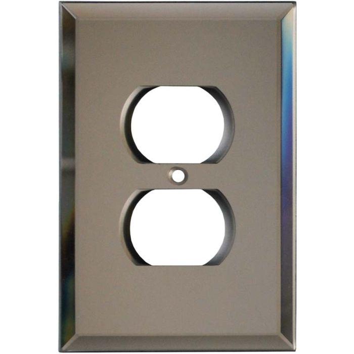 Glass Mirror Bronze Tint 1 Gang Duplex Outlet Cover Wall Plate
