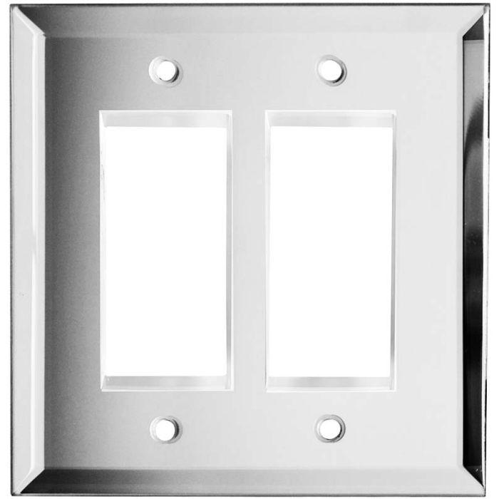 Glass Mirror 2 Gang Double GFCI Rocker Decorator Wallplates