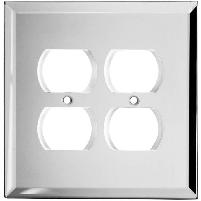 Glass Mirror 2 Gang Duplex Outlet Wall Plate Cover