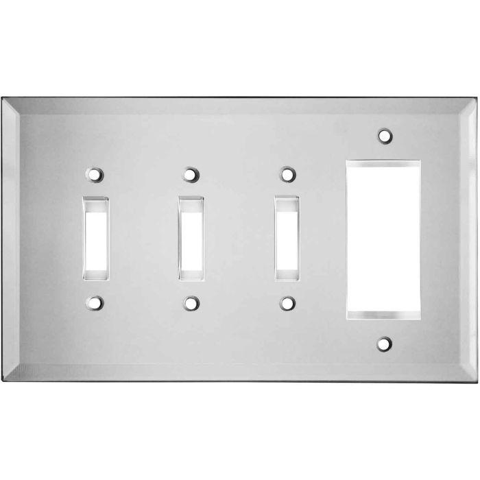 Glass Mirror - 3 Toggle/1 Rocker GFCI Switch Covers