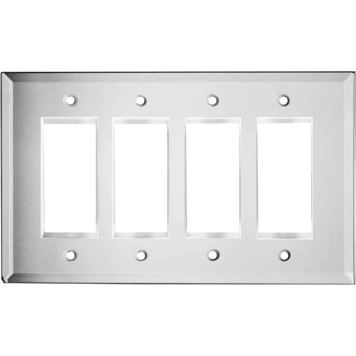 Glass Mirror 4 Rocker GFCI Decorator Switch Plates