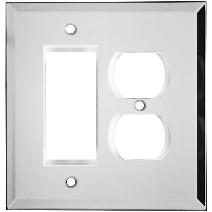 Glass Mirror Combination GFCI Rocker / Duplex Outlet Wall Plates
