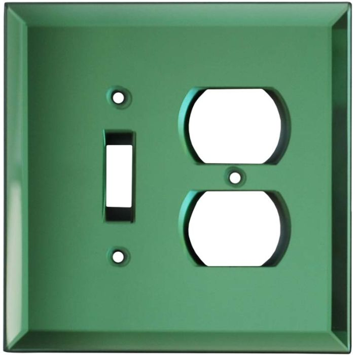 Glass Mirror Green - Combination 1 Toggle/Outlet Cover Plates
