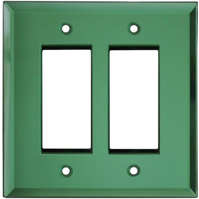 Glass Mirror Green - 2 Gang Double GFCI Rocker Wallplates