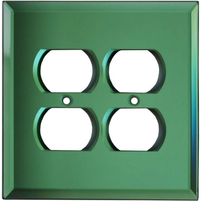 Glass Mirror Green 2 Gang Duplex Outlet Wall Plate Cover