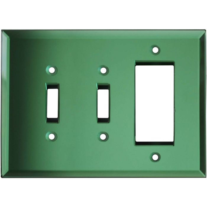 Glass Mirror Green Double 2 Toggle / 1 GFCI Rocker Combo Switchplates