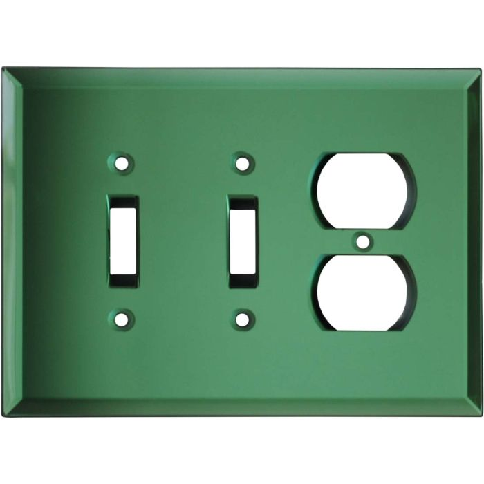 Glass Mirror Green - 2 Toggle/Outlet Combo Wallplates