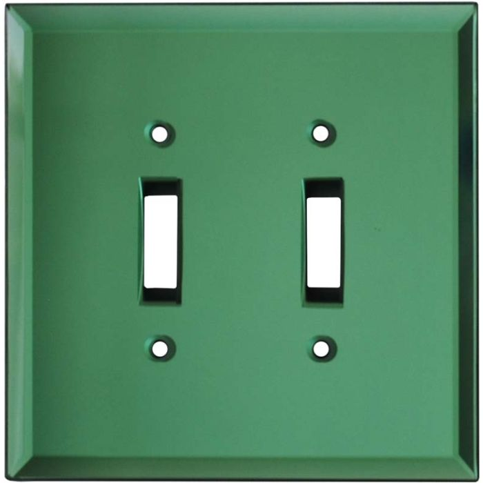 Glass Mirror Green - Double Toggle Switch Plates
