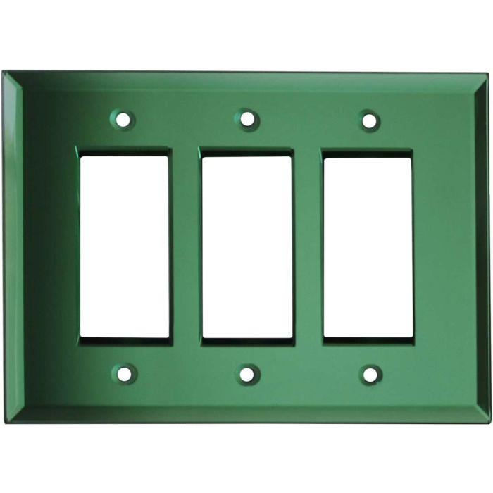 Glass Mirror Green - 3 Rocker GFCI Decora Switch Covers