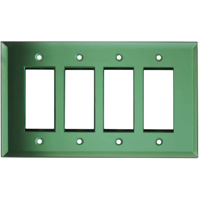 Glass Mirror Green 4 Rocker GFCI Decorator Switch Plates