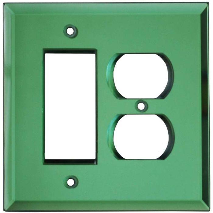 Glass Mirror Green - GFCI Rocker/Duplex Outlet Wall Plates