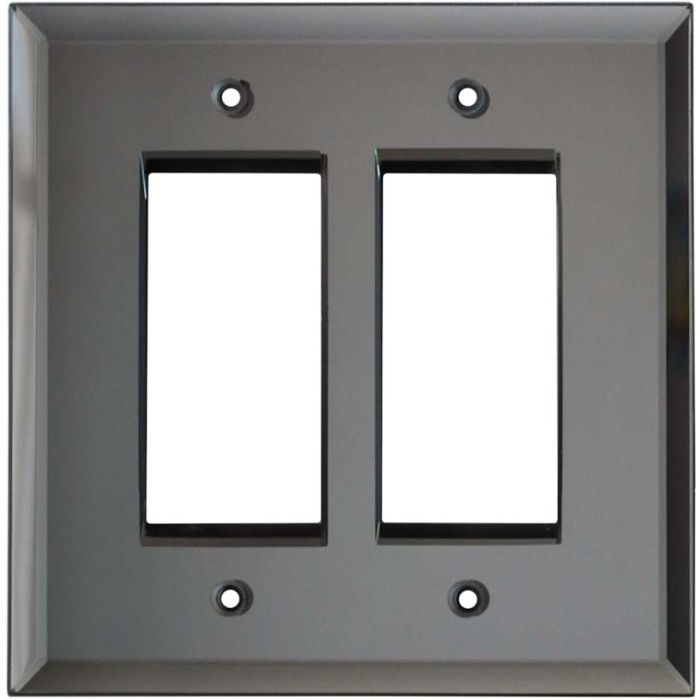 Glass Mirror Grey Tint 2 Gang Double GFCI Rocker Decorator Wallplates
