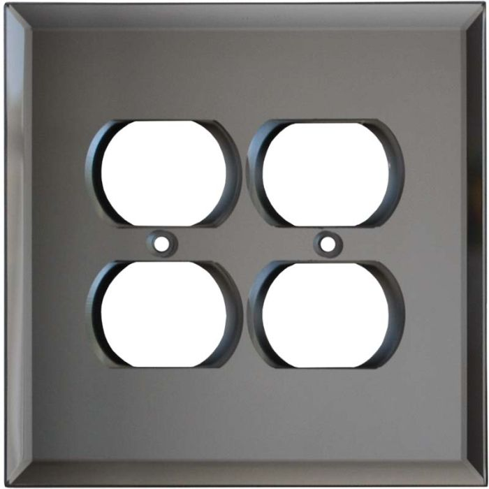 Glass Mirror Grey Tint 2 Gang Duplex Outlet Wall Plate Cover