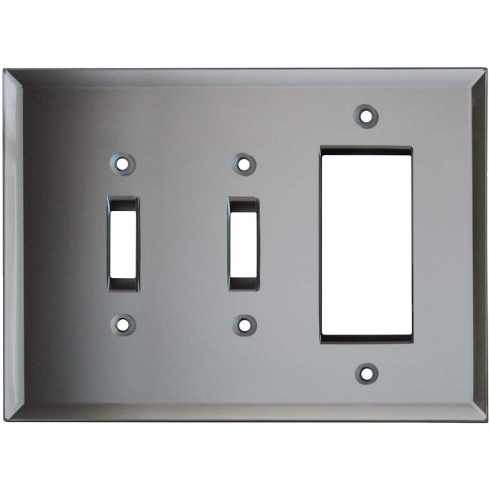 Glass Mirror Grey Tint - 2 Toggle/1 GFCI Rocker Switchplates