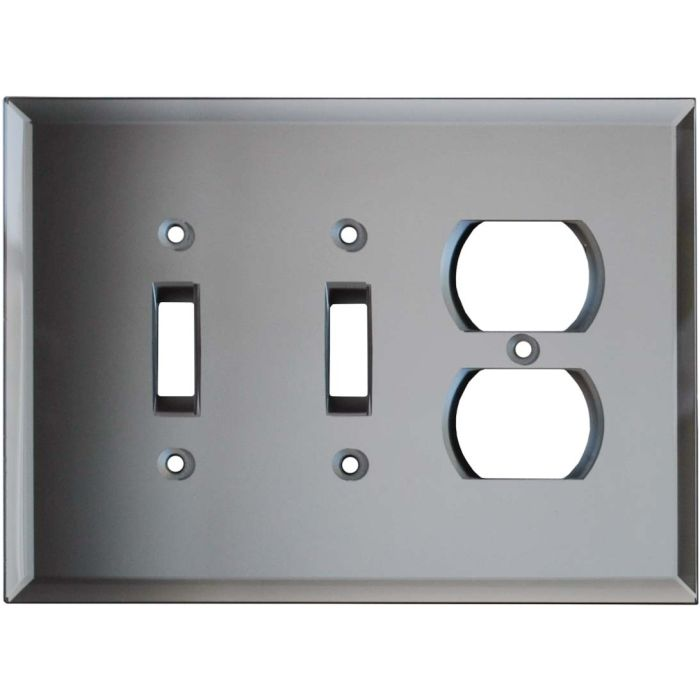Glass Mirror Grey Tint - 2 Toggle/Outlet Combo Wallplates