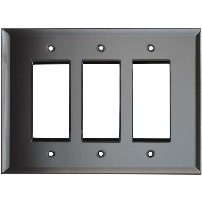 Glass Mirror Grey Tint - 3 Rocker GFCI Decora Switch Covers