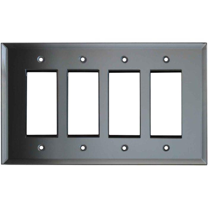 Glass Mirror Grey Tint - 4 Rocker GFCI Decora Switch Plates