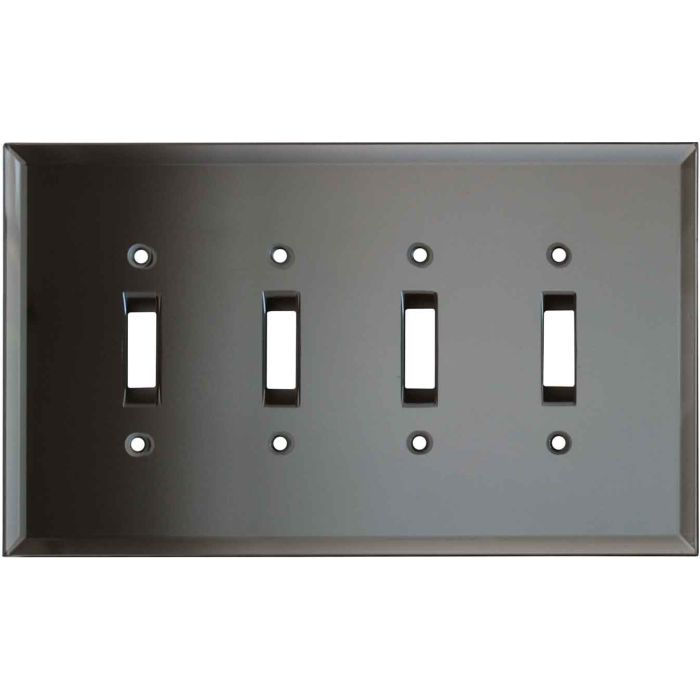 Glass Mirror Grey Tint Quad 4 Toggle Light Switch Covers