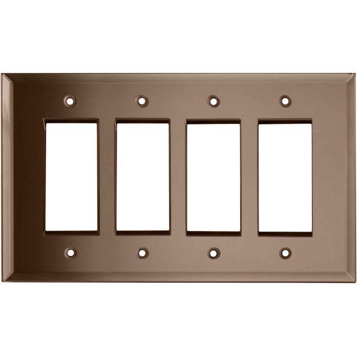 Glass Mirror Peach 4 Rocker GFCI Decorator Switch Plates
