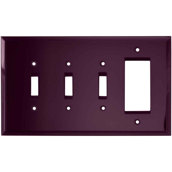 Glass Mirror Purple - 3 Toggle/1 Rocker GFCI Switch Covers