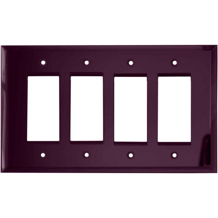 Glass Mirror Purple - 4 Rocker GFCI Decora Switch Plates