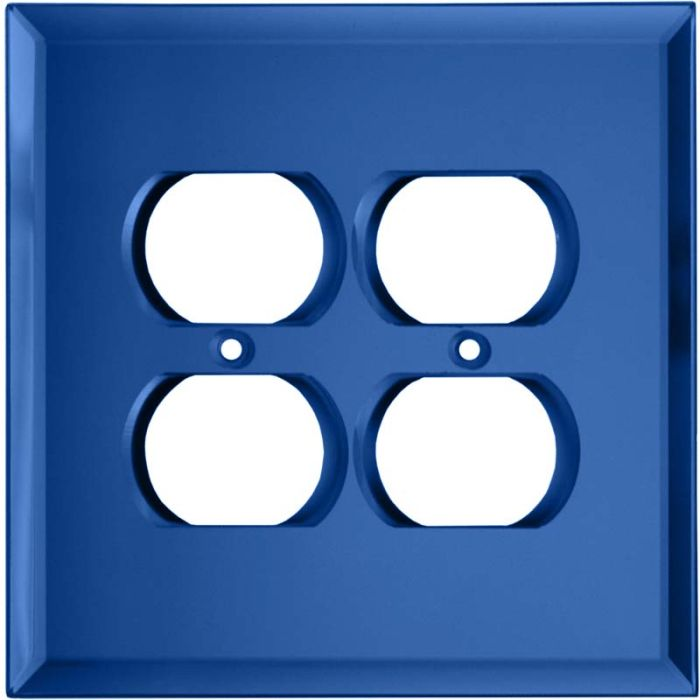 Glass Mirror Sky Blue 2 Gang Duplex Outlet Wall Plate Cover