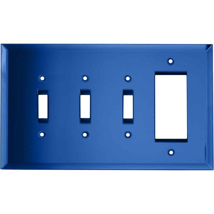 Glass Mirror Sky Blue Triple 3 Toggle / 1 Rocker GFCI Switch Covers
