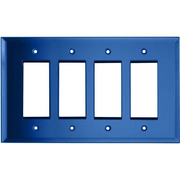 Glass Mirror Sky Blue 4 Rocker GFCI Decorator Switch Plates