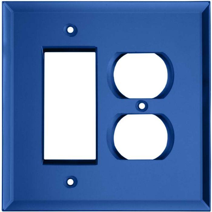 Glass Mirror Sky Blue Combination GFCI Rocker / Duplex Outlet Wall Plates