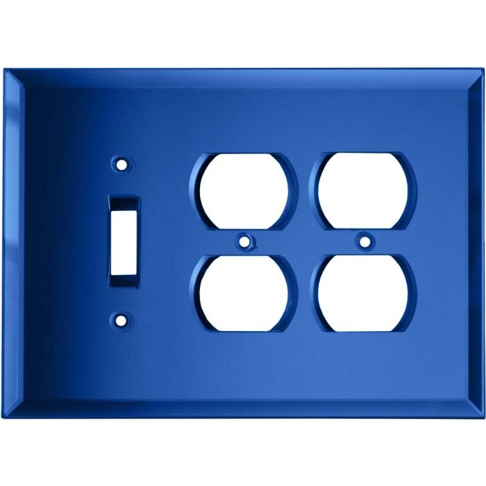 Glass Mirror Sky Blue 1 Toggle - 2 Duplex Outlet Combo Cover