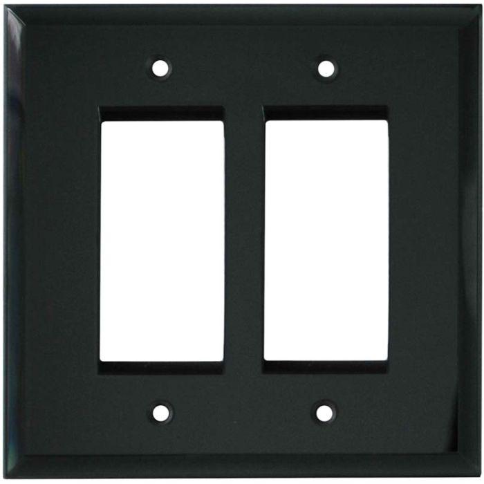 Glass Mirror Smoke Grey - 2 Gang Double GFCI Rocker Wallplates