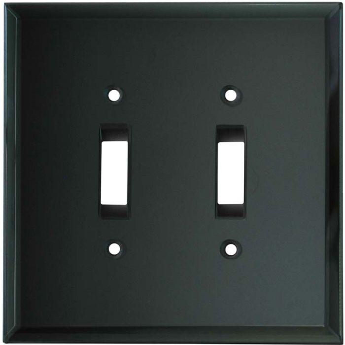 Glass Mirror Smoke Grey - 2 Toggle Switch Plate Covers
