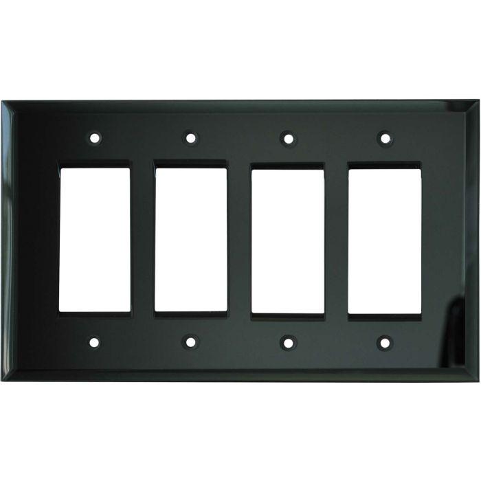 Glass Mirror Smoke Grey - 4 Rocker GFCI Decora Switch Plates