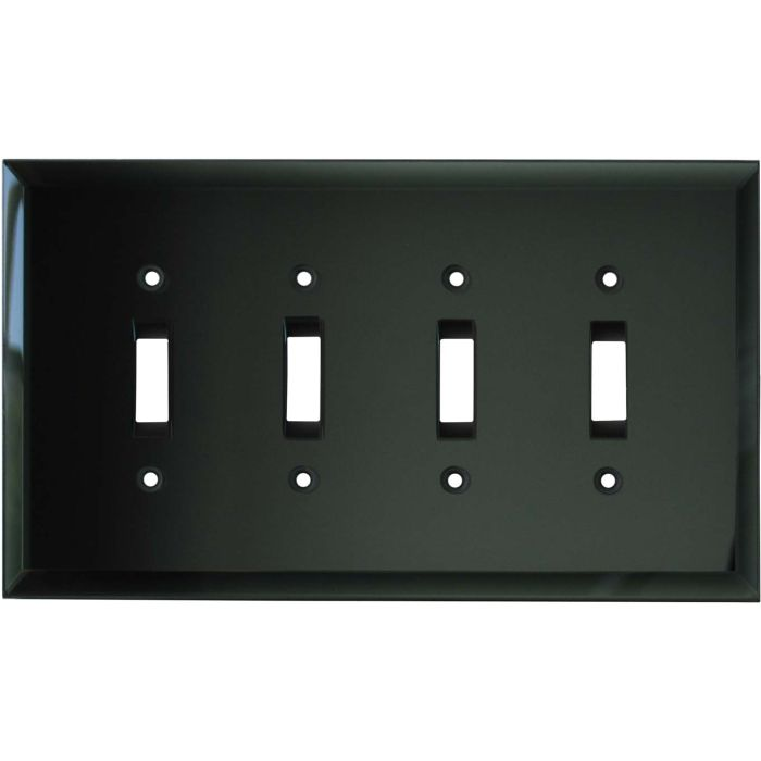 Glass Mirror Smoke Grey Quad 4 Toggle Light Switch Covers