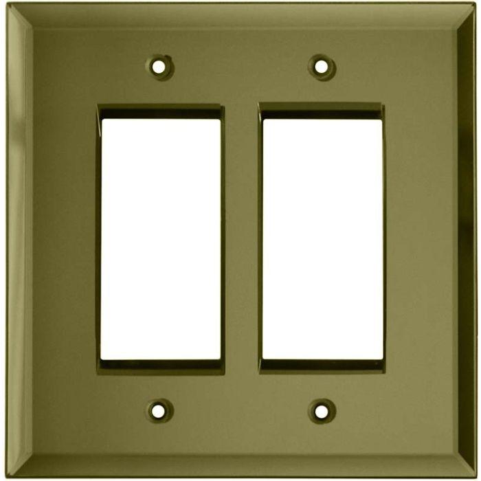 Glass Mirror Yellow 2 Gang Double GFCI Rocker Decorator Wallplates