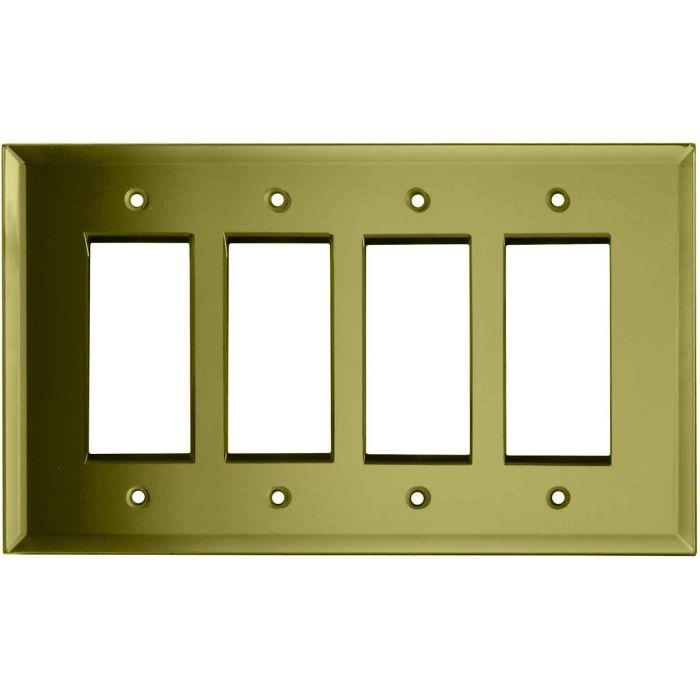 Glass Mirror Yellow - 4 Rocker GFCI Decora Switch Plates