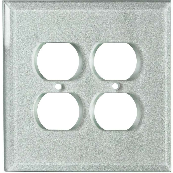 Glass Silver 2 Gang Duplex Outlet Wall Plate Cover