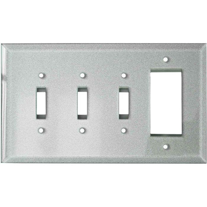 Glass Silver - 3 Toggle/1 Rocker GFCI Switch Covers