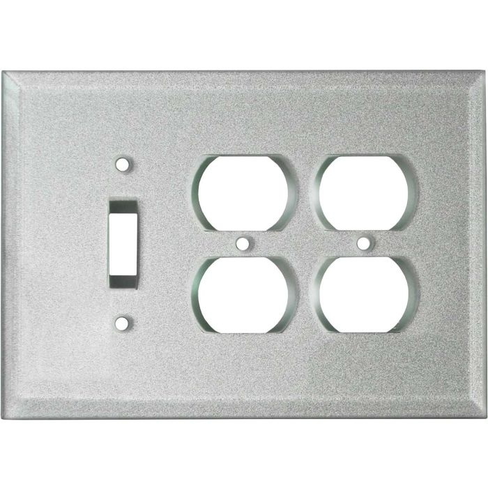 Glass Silver Combintion Single 1 Toggle / Double 2 Outlet Wall Plates