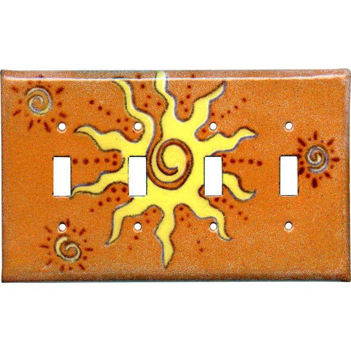 Golden Sunburst 4 - Toggle Light Switch Covers & Wall Plates